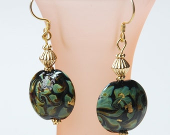 Come Hither Handsome (Gold, Green Lampwork Earrings)