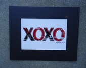 XOXO Original Soda Can Collage 8 x 10  with Black Mat Board Recycled Aluminum - creationsbyingrid1