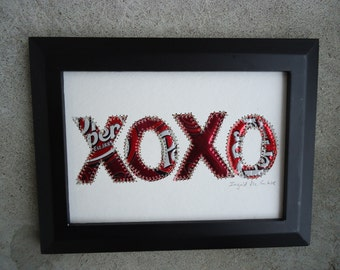 DR Pepper - Hugs and Kisses -  XOXO-  Original 5 x 7 -  Recycled Soda Can Art -  Eco Friendly