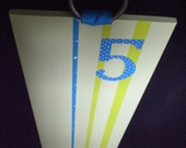 Handpainted Lemon Green and Teal Growth Chart