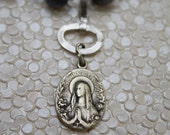 Blue Freshwater Pearl necklace with Art Nouveau Madonna medal