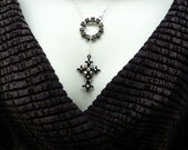 Lariat Cross Sterling Silver Rhinestone Religion Necklace   FREE SHIPPING