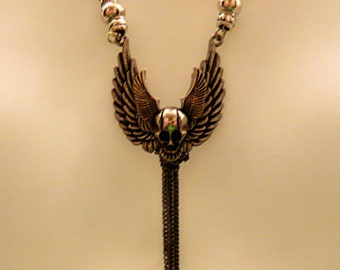 Steampunk Skull Wings Rock Necklace       FREE SHIPPING
