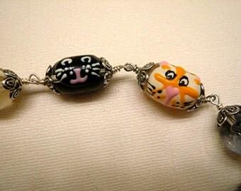 Cat Bracelet Kitty Bracelet Beaded Bracelet Mice Bracelet Lampwork Bracelet