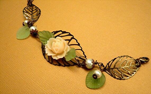 SALE     Leaf Bracelet Rose Bracelet Pearls Bracelet Metal Bracelet