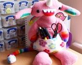 Bernard the OOAK Flowertailed Rainbow Monster with Flower pouch