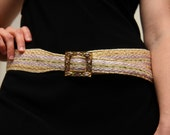 Belt - Lilac, Gold and Green with Vintage Buckle