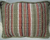 Small Green and Brown Pillow - Hand Woven