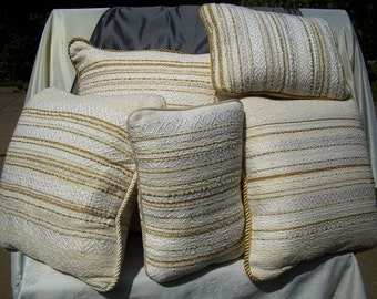 Set of Five Gold and White Pillows - Hand Woven