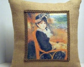 Pillow Renoir By the Seashore Painting on Burlap Artistic and Unique