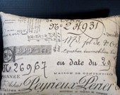Pillow 12 by 16 Inches Paris Document French Script