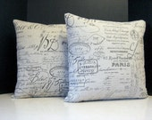 Pillows 18 Inch Pair of French Script Paris Document