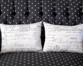 Pillows Pair of French Script Paris Document 12 by 16 Inches