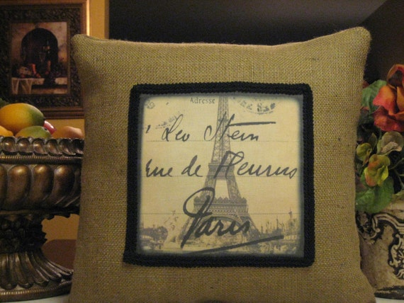 Eiffel Tower with Handwriting Pillow