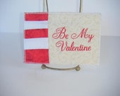 Fabric Postcard, Embroidered, Be My Valentine, Patchwork, Mailable, Correspondence. Handmade items by CooperStudios.