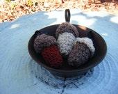 Acorn, Acorn Ornaments, Crochet Acorn, Set of 3,  Holiday Ornament, Bowl Fillers, Christmas Ornament. Handmade Ornaments by CoopersSudios.