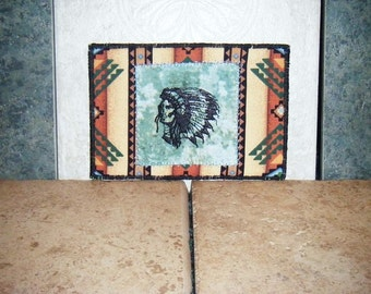 Postcard, Fabric Postcard, Embroidered Postcard,  American Indian, Indian Chief, Native American