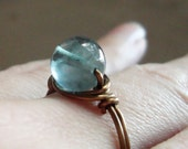 Blue Fluorite Wire Wrapped Ring, Earth Rocks............ For the Throat Chakra