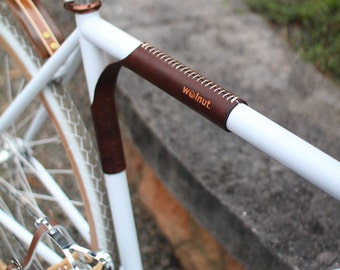 "Leather Shoulder Pad and Bike Carrier - The ""Portage Strap"" - Bicycle Top Tube Protector"