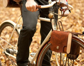 "Bicycle Pannier Bag - The ""Pocket Pannier"" - Leather Bike Panniers"