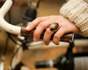 "Leather Bicycle Grips - The ""City Grips"" - Sew-on Leather Handlebar Wraps for City and Mountain Bikes"