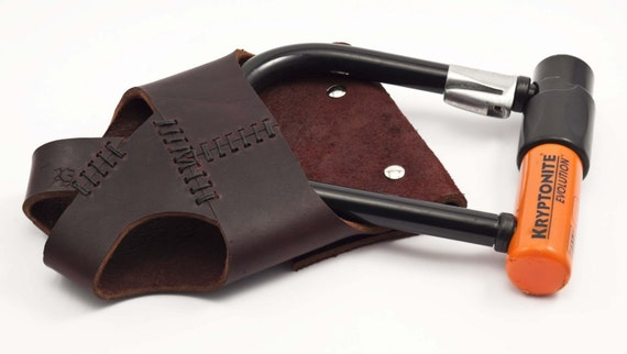 Leather Bike U-Lock Holster - Rack-Mounted