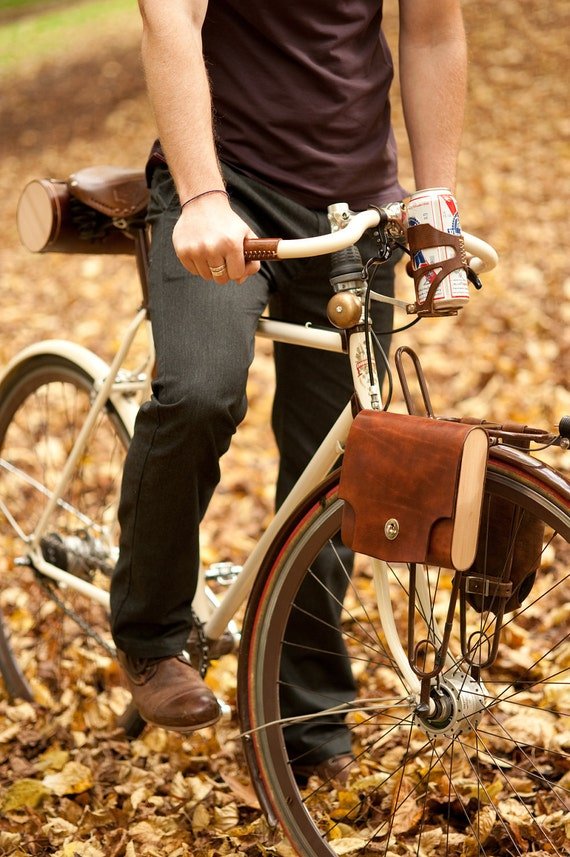 The Pocket Pannier - Leather and Wood Bicycle Pannier
