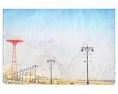 Oversized Art, Large Wall Art, Brooklyn Boardwalk, Coney Island Photography, Coney Islnd Print, Boardwalk Light Posts,
