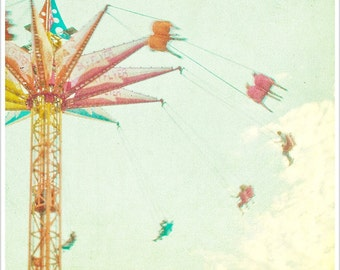 "Carnival Photography Coney Island // Pastel Print // Nursery Decor // Coney Island Brooklyn // Square Format - ""Sky Flyer"""