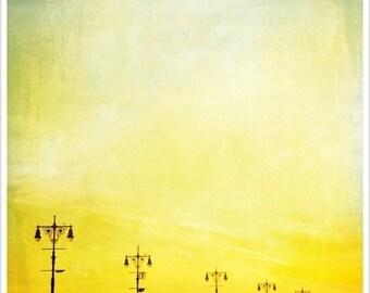 Coney Island Print, Boardwalk Print, Coney Island Photography, Bright Yellow Print - Light Posts Coney