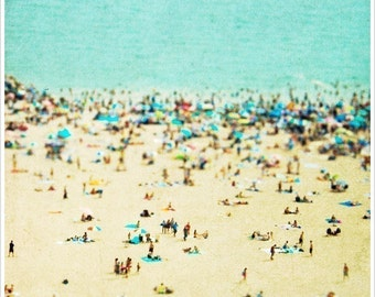 "Coney Island Print, Beach Photography, Coney Island Photography, Beach People, Turquoise, Teal, ""Coney Island Beach"""