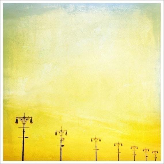 "Large Wall Art Coney Island Photography, Large Prints, Boardwalk Beach Theme, Yellow Art, Turquoise Art, Teal Boardwalk Landscape 20x20"""