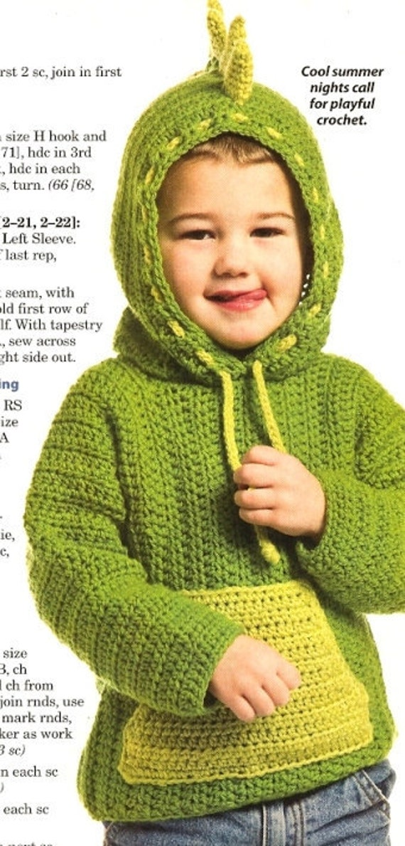 Items similar to X774 Crochet PATTERN ONLY Dinosaur Hoodie ...