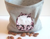 1 Reusable Organic Sandwich/Snack Bag with Baby Owl