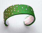 Green Cuff Bracelet Necktie Cuff Necktie Bracelet Rhinestone Bracelet Gold Rhinestone Bracelet Green Bracelet Tie Bracelet Gifts For Her
