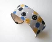 Recycled Necktie Cuff Bracelet Gray Black Mustard Circles with Rhinestones - 1inch