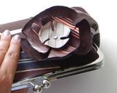 Brown Stripe Clutch Recycled Necktie Clutch Flower Brooch