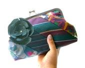 Hunter Green Recycled Necktie Clutch Removable Flower Brooch