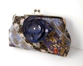 Navy & Sage Recycled Necktie Clutch - 8inch with Removable Flower Brooch