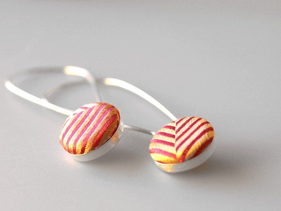 Recycled Necktie Sterling Silver Button Earrings - Coral Chevron