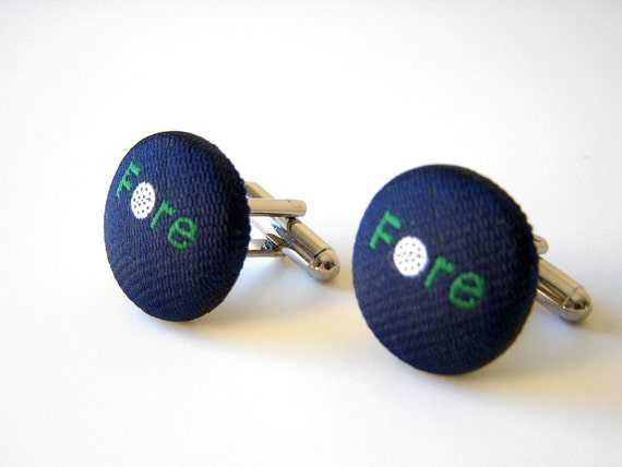 GROOMSMEN GIFT 5 PAIRS - Golf Recycled Necktie Button Cufflinks - Navy Embroidered