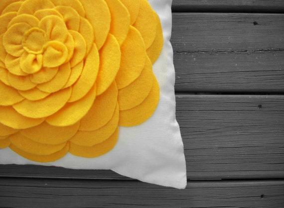 Yellow Felt Flower Pillow Cover