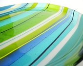 Fused Glass Round Plate Green Sea