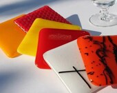 Fused Glass Coasters 6 - Caliente
