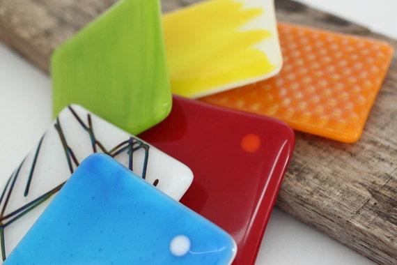 Fused Glass Coasters 6 - Turquoise Kick