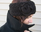 Black ear warmer with flower and sparkles READY TO SHIP - headband