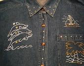 Tropical RHINESTONE Dolphins, Palm Tree, Sailboat, Flip Flop- Denim Long Sleeve Shirt - L XL