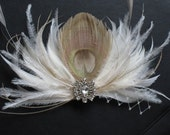 MILENA - Made to Order Peacock Feather Fascinator Flower Fan Rhinestone Vintage Hair Clip Bridal Party Wedding Ivory White Bridesmaids Custom