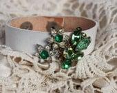 White Leather Cuff Bracelet Vintage Green Rhinestone Emerald
