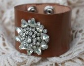 Brown Leather Cuff Bracelet Vintage Rhinestone
